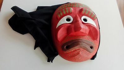 Asian - Korean/Japanese? Wood Carved Noh Mask With Hood