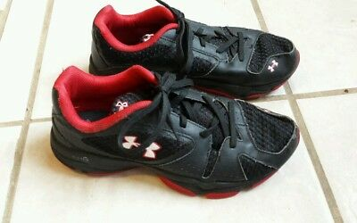 Boys Black and Red Under Armour Tennis Shoes Sneakers Youth Size 4
