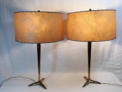 Pair of Mid-Century Brass Table Lamps w/Whip Stitch Shades; 3-way switch; VTG