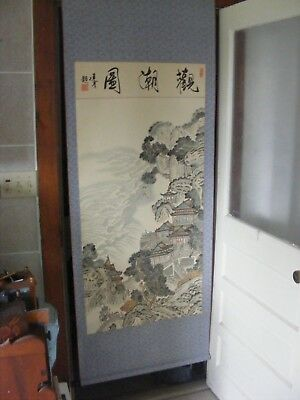Large Antique Chinese Handpainted Scroll-Signed Painting-Beautiful-Wwii Era