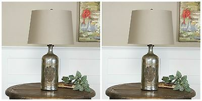 Two Antique Style Mercury Glass Bottle Table Lamp Brass Medallion Linen Shade