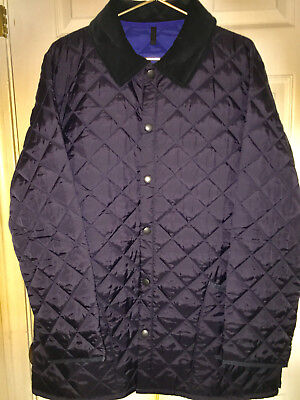 Men's Barbour quilted jacket. New. Navy with Black corduroy collar, size XL