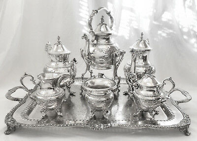 Atq 7Pc GOLDFEDER Hand Chased Aesthetic Silver Plate O/C Coffee & Tea Set +Tray