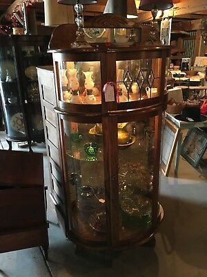 Solid Light Oak China Cabinet- Curved Glass--Quality--Made In Usa!!!