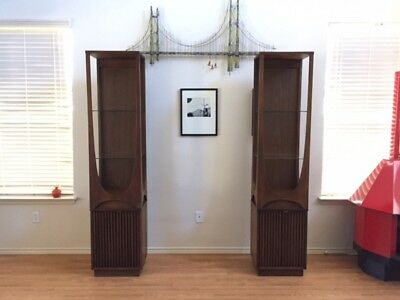 EXTREMELY RARE...Matching Broyhill Brasilia Curio Cabinets