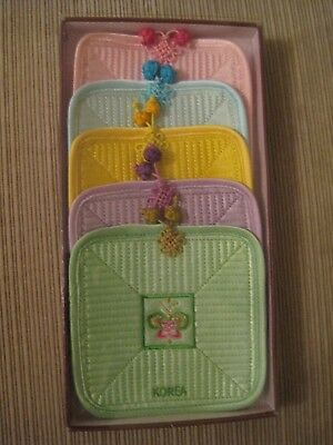 Korea Coaster 5 Piece Set Quilted Silk Satin Embroidered Ponytail Knot Pastel Co