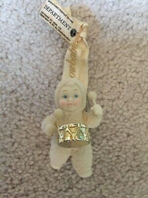 "Department 56 Snowbabies ""Holiday Drummer"" Ornament Gold Drum"