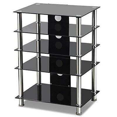 Tinkertonk Black Glass TV/Hifi Stand Stainless Steel Media Component Entertainme