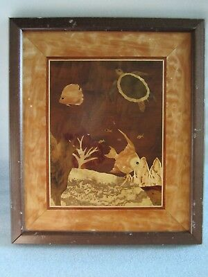 RARE Beautiful Vintage Sue Mersman Wood Inlay Art Marquetry Signed
