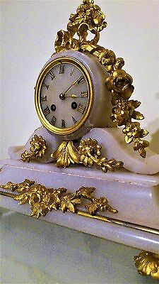 Antique French Gilt and White Stone Mantel Clock.