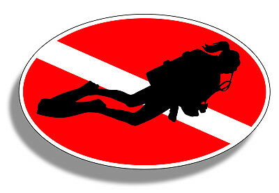 Female Scuba Diver Sticker Girl Diving Down Dive Flag Cup Car Window Oval Decal