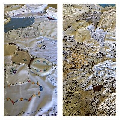 Bulk 2.3Kg Vintage Doilies Lace Embroidery Crochet Doily Great For Craft