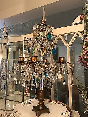 "Antique Girandole Candleabra Chandelier Style Colored Crystals. 21"" Tall Italian"