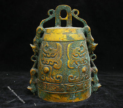 "8"" Collect Chinese Shang Gild Bronze Handmade Ware : Dragon Beast Pattern Bell"