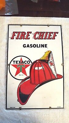 "Texaco Porcelain Fire-Chief Gasoline Sign 12""x18""dated 3-3-56"