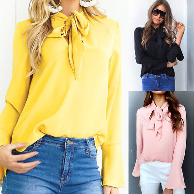 Womens Summer Loose Top Long Sleeve Blouse Ladies V Neck Casual Tops T-Shirt Tee