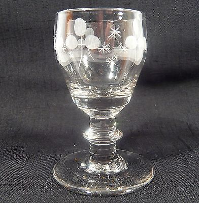 Antique Georgian American Flint Glass Engraved Stem Wine / Cordial Glass C. 1840