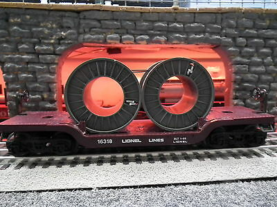 Lionel 6-16318 Lionel Depressed Flat Car With Coil Reels Built 1-89