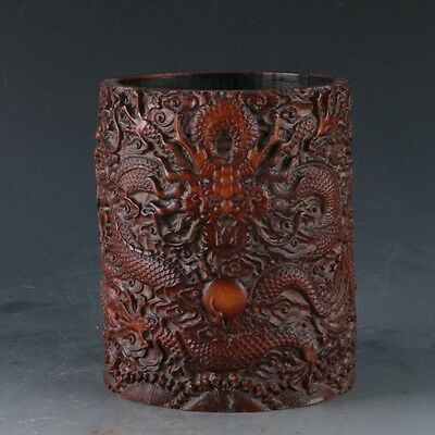 Chinese Bamboo Pole Hand Carved Dragon Brush Pot  DY285