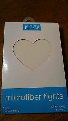 The Children's Place microfiber tights size 6-7 6 7 Winter white NWT