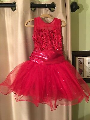 Weissman girls red sequin and tulle dance costume size xs (4-6)