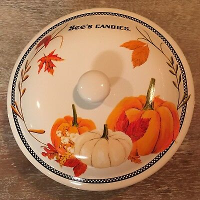 RARE See's Candies Ceramic Fall Autumn  Halloween Candy Dish HARD TO FIND