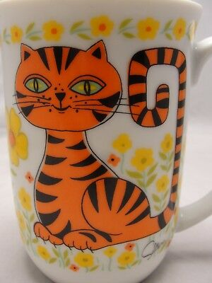 vtg japan cat coffee cup mug tea orange kitty 1976 SALTERA Himark Jungle Safari