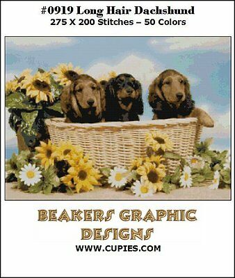 DACHSHUND PUPPIES Long Hair Counted Cross Stitch detailed #0919