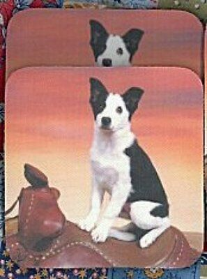 BORDER COLLIE PUPPY Rubber Backed Coasters #0644
