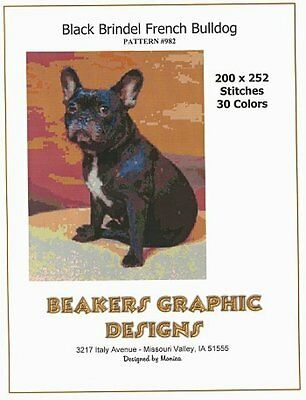 FRENCH BULLDOG BLK BRINDEL Counted Cross Stitch detailed #0982