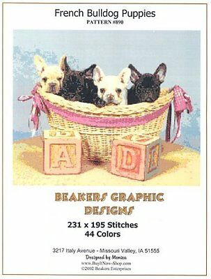 FRENCH BULLDOG PUPPIES Counted Cross Stitch detailed #0890