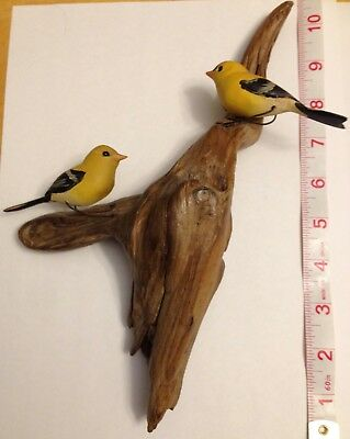 Carved Pair of Gold Finches on branch - Unique Collectible