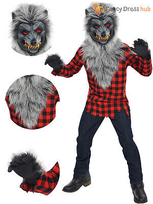 Boys Werewolf Hungry Howler Costume Teen Wolf Halloween Fancy Dress Scary Outfit
