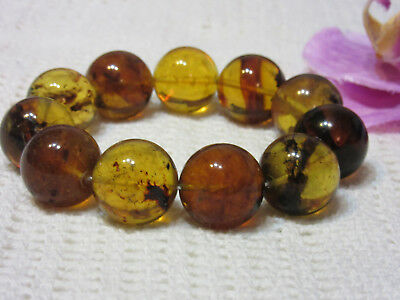 Dominican Amber Bracelet Blue-Green Bangle Beads about 18.6mm sphere(38.4g)#1059