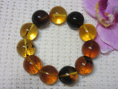 Dominican Amber Bracelet Blue-Green Bangle Beads about 18.3mm sphere(36.2g)#1060