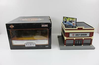 Rail King MTH O scale Harley Davidson dealership model with rooftop billboard