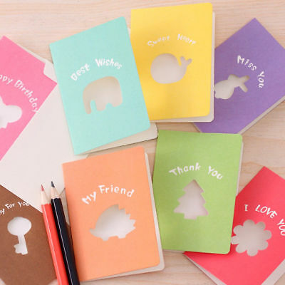 Lots 10Pcs Cut Out Animal Greeting Card Blessing Wish Friends Thank You Cards