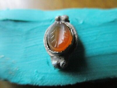 Ancient Roman Silver Ring with red Gem-Carnelian  - Seal (1-3th Century AD )