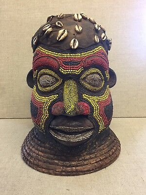 Old Antique African Cameroon Beaded Bamileke Head