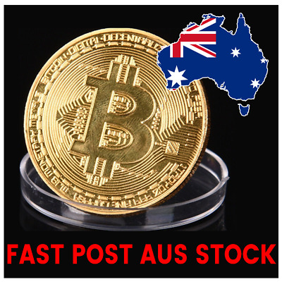 Gold Plated Bitcoin Coin collectible gift Physical BTC XBT Metal Cryptocurrency