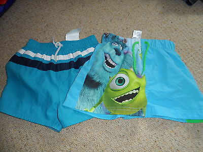 Bnwt new 2 pairs of boys swimming shorts monsters inc age 18-24 months
