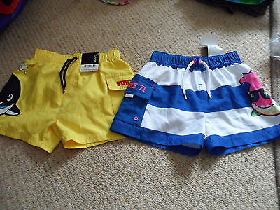 Bnwt new 2 pairs of boys swimming shorts surf 71 age 18-24 months