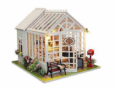 DIY Dollhouse Miniatures Cake Shop Wooden Kits LED Children Xmas Birthday Gift