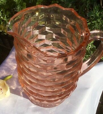 Rare Large Heavy Pink Depression Glass Cube Pattern Art Deco Water Jug Pitcher