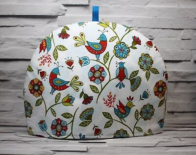 Tea Cosy Birds and Flowers Quilted Handmade by Jo Sews Crafts Tea Pot Cover