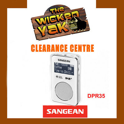 Sangean Stereo DAB+/FM-RDS Pocket Digital Radio Re-chargeable DPR-35 WHITE-NEW