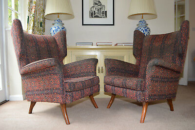 PAIR OF 1950s WING CHAIRS FOR REUPHOLSTERY vintage retro heals 60s hk style