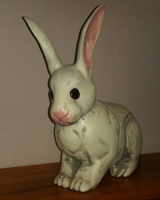"""Vintage Hand Carved Rabbit. Lifelike Collectable.  11.5"""" Tall Easter Bunny Solid"""