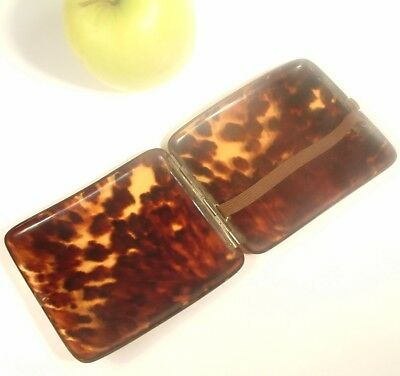 ANTIQUE FAUX TORTOISE SHELL CIGARETTE CASE flat box etui.