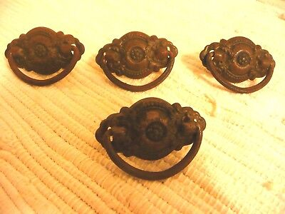 Antique Vintage Brass Drawer Pulls Set of 4